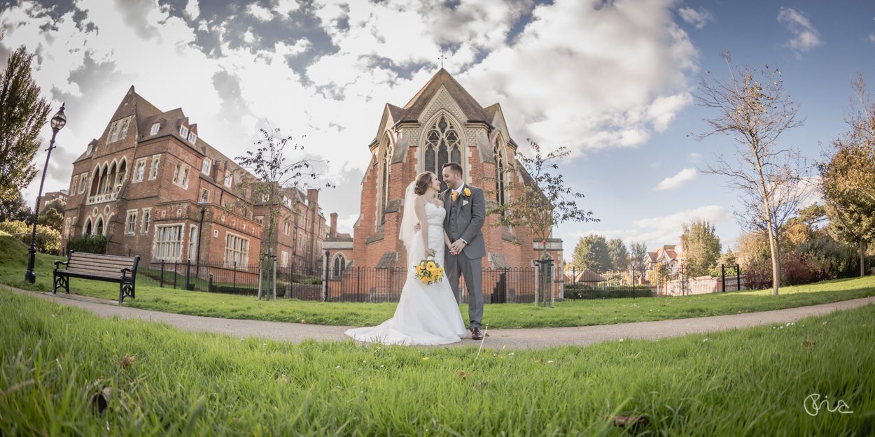 Bride & Groom at All Saints Chapel in Eastbourne
