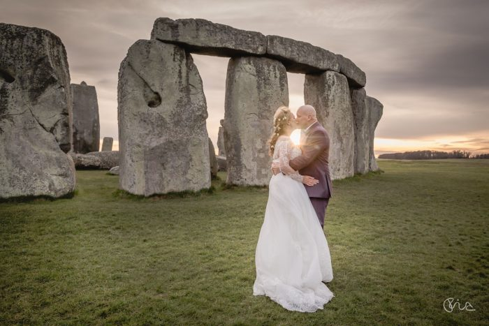 Couple shot at Stonehenge wedding