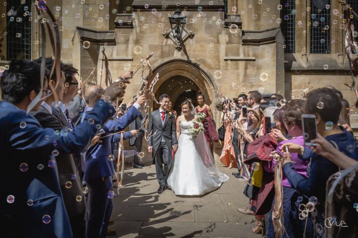 Confetti at Temple Church wedding