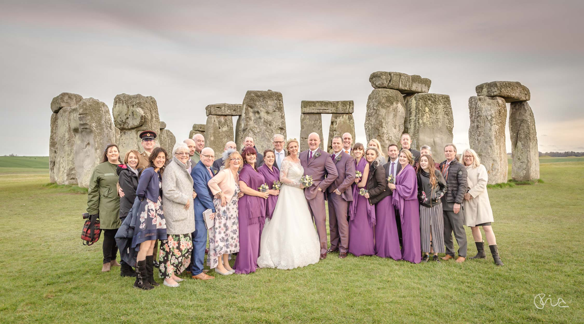 Stonehenge wedding group shot