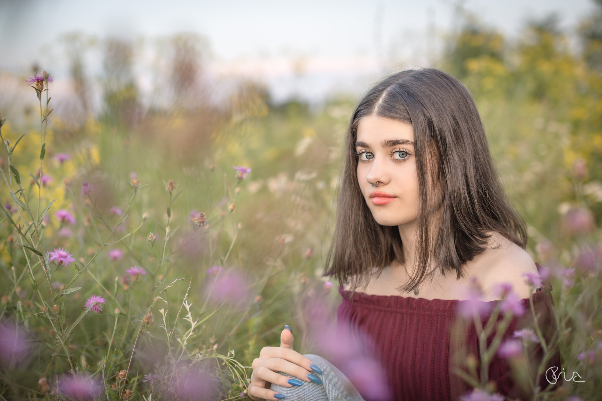 Portrait shoot with wild flowers