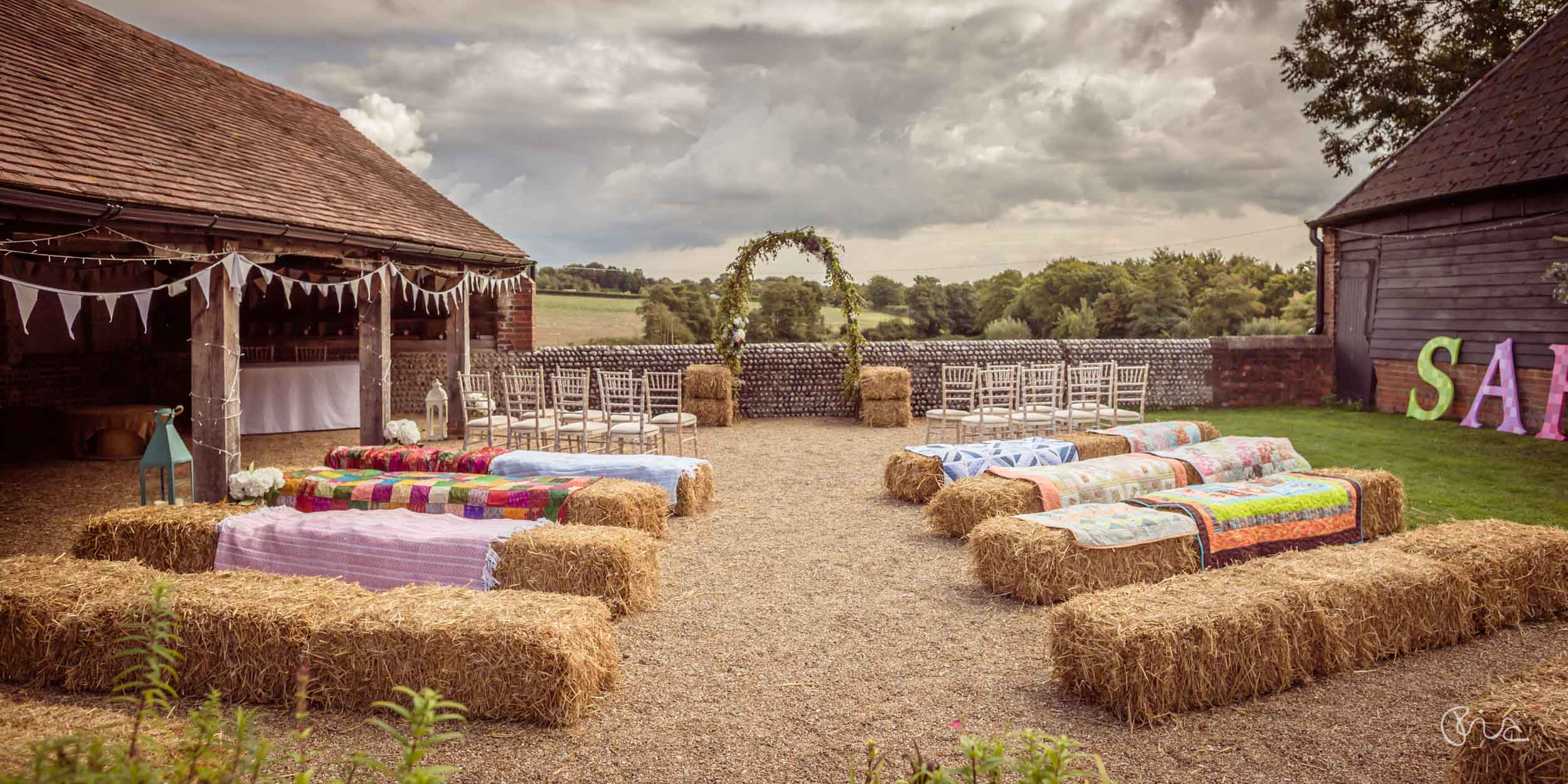 Festival wedding at the Sussex Barn
