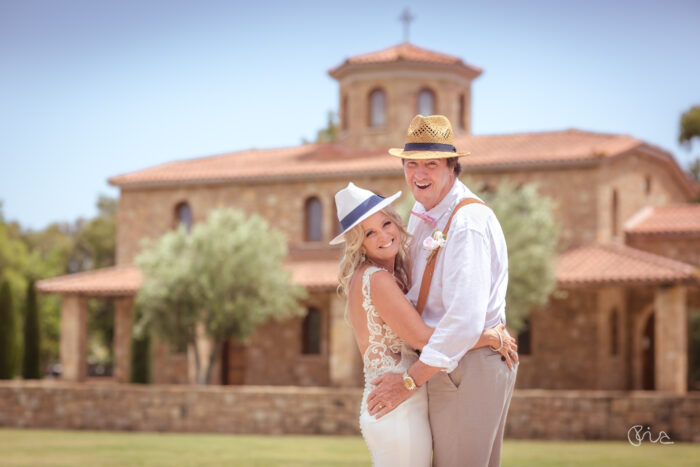 Bride and Groom at Sani Beach wedding in Greece