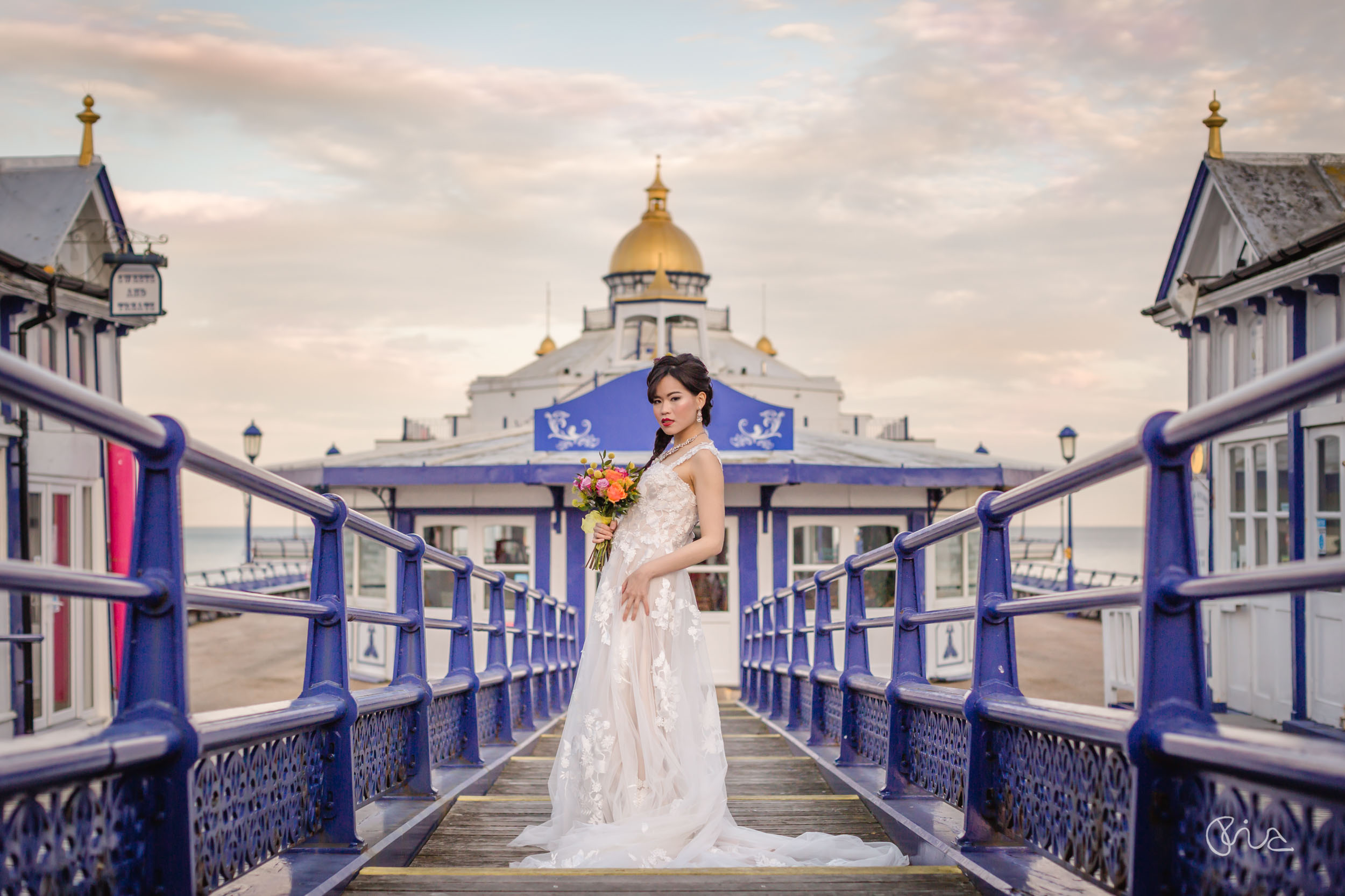Bride at Eastbourne Pier
