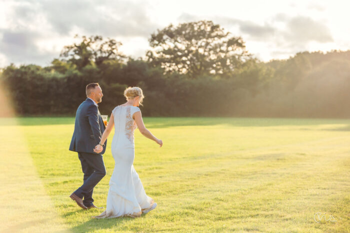 Bride and groom at Festival wedding in Sussex