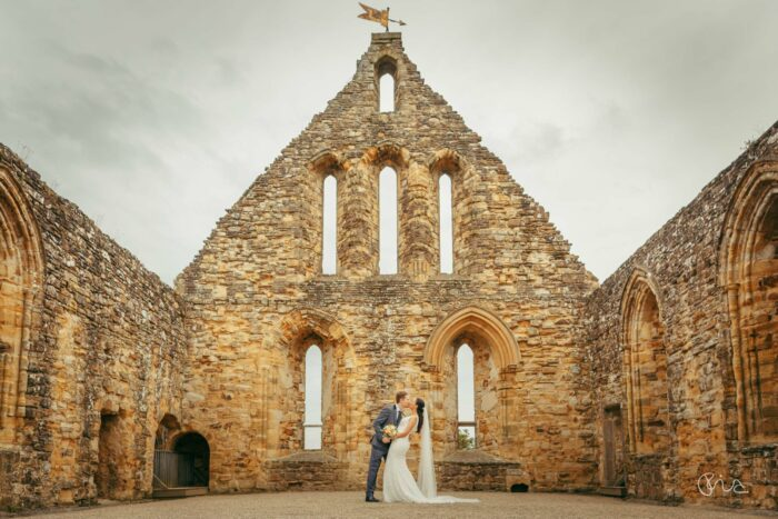 Bride and groom at Battle Abbey